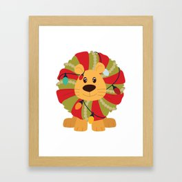 Your Big Cat in Decorative Christmas Wreath Framed Art Print