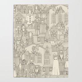 vintage halloween drab ivory Poster