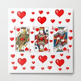 JACK, QUEEN, KING OF HEARTS SUIT CASINO  FACE CARDS Metal Print