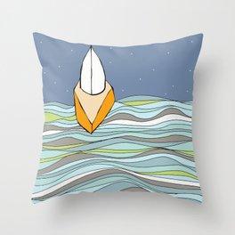 Night Sailing on Casco Bay Throw Pillow