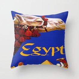 Vintage Egypt Camel Travel Throw Pillow