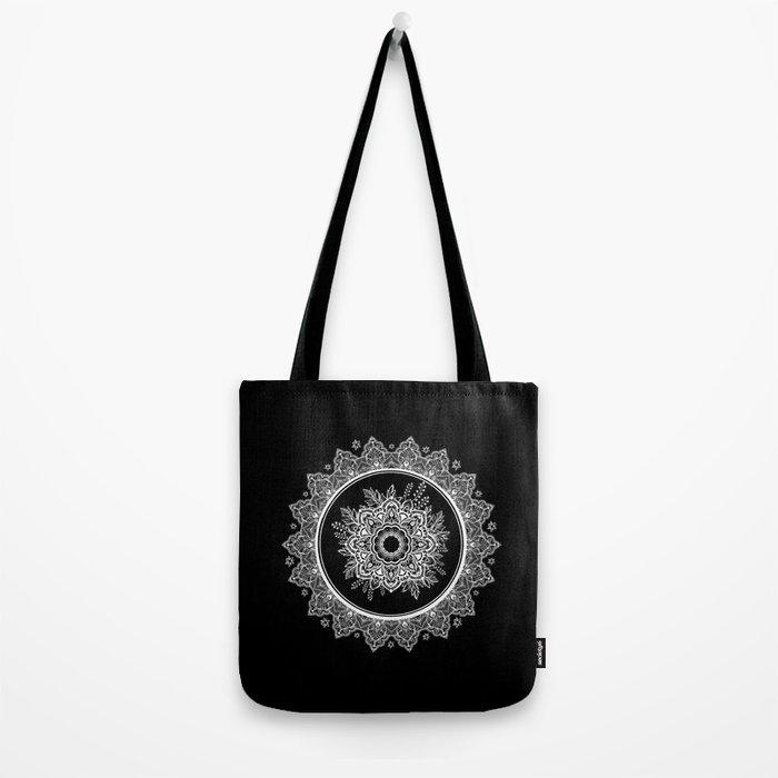 Bohemian Lace Paisley Mandala White on Black Tote Bag