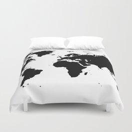 Black Ink World Map Duvet Cover