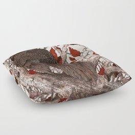 A Raven In Winter Floor Pillow