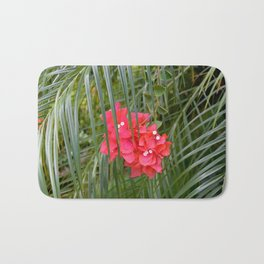 Tropical flower with palm tree branches Bath Mat