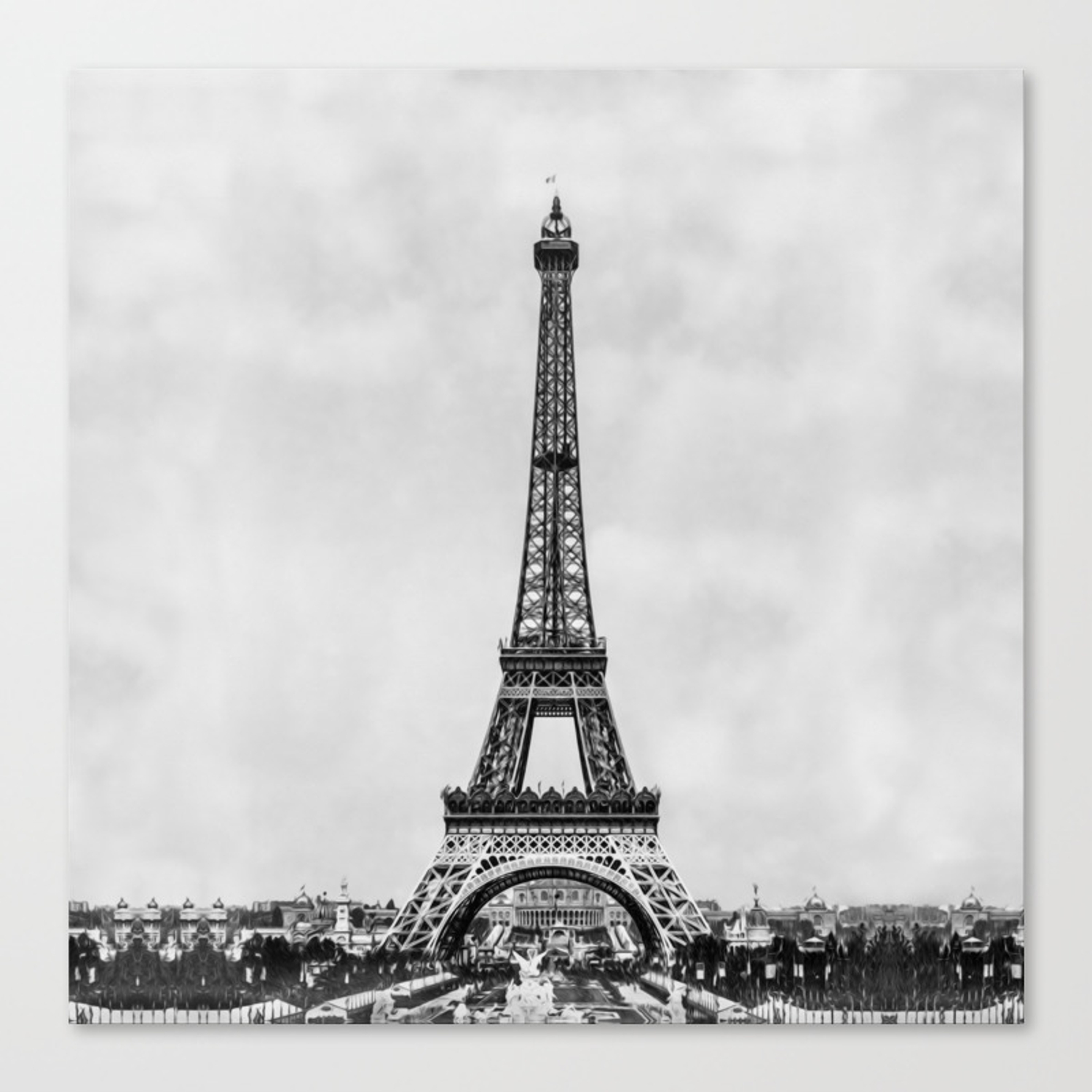 Eiffel Tower Paris France In Black And White With Painterly Effect Canvas Print By Rqdesignsretroquotes Society6