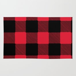 Plaid flannel black and red Rug