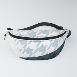 Modern Houndstooth Reinterpreted A – Navy / Gray / White Checked Pattern Fanny Pack