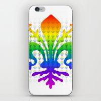 fleur de lis iPhone & iPod Skins featuring Rainbow Fleur-de-Lis by Cool Prints