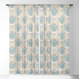 Prickly pear cactus in a basket planter Sheer Curtain