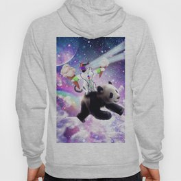 Lazer Rave Space Cat Riding Panda Eating Ice Cream Hoody