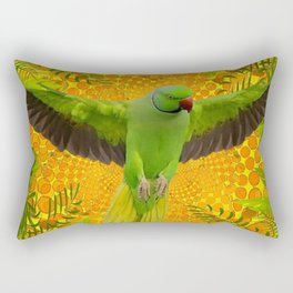 MAGNIFICENT GREEN PARROT GOLD JUNGLE MODERN ART Rectangular Pillow