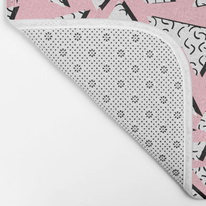 Crunk - throwback retro memphis design style minimal pattern print pink white and black Bath Mat