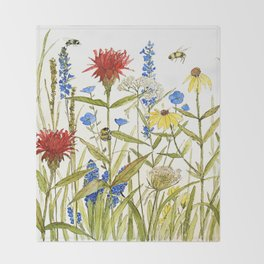 Garden Flower Bees Contemporary Illustration Painting Throw Blanket