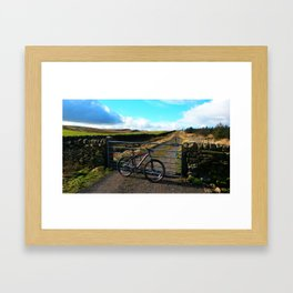 WHEELS AND HILLS Framed Art Print