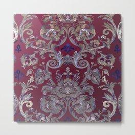Painted Tibetan Brocade red Metal Print