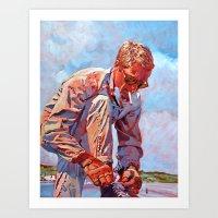 steve mcqueen Art Prints featuring Steve McQueen Cool by David Lloyd Glover