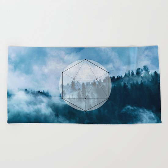 Wander into the wild blue mountains Beach Towel