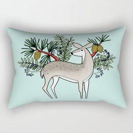 Deer with Pine - Seafoam Green Rectangular Pillow