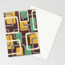 Mid Century Modern Overlapping Squares Pattern 144 Stationery Cards