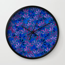 All Over Ditsy-Floral in Blue Wall Clock