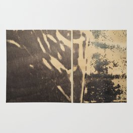 Ink drawing - edges of two abstract prints Rug