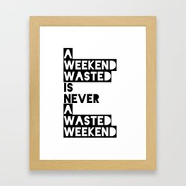 A Weekend Water (Black) Framed Art Print