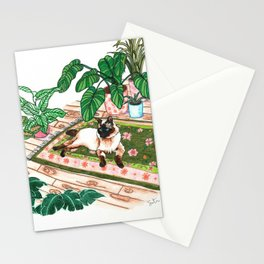 Lounging Siamese and Philodendrons Stationery Cards