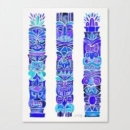 Tiki Totems – Indigo Palette Canvas Print