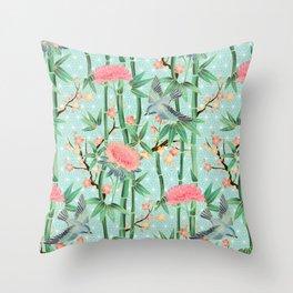 Bamboo, Birds and Blossom - soft blue green Throw Pillow