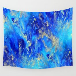 Blue & Gold Abstract d171011 Wall Tapestry