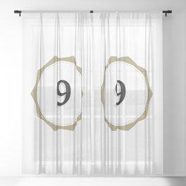 Vintage Number 9 Monogram Sheer Curtain