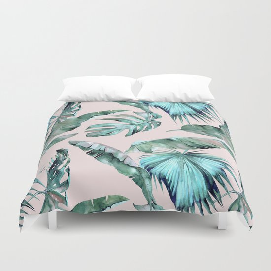 Tropical Palm Leaves Turquoise Green Coral Pink Duvet