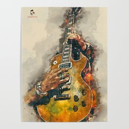 slash's guitar wall art - hand painted guitar art, unique gift for musicians Poster