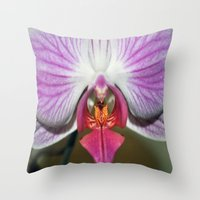 orchid Throw Pillows featuring Orchid  by Sammycrafts
