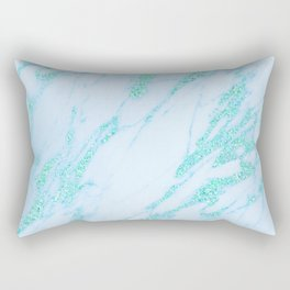 Teal Marble - Shimmery Glittery Turquoise Blue Sea Green Marble Metallic Rectangular Pillow
