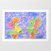 Faerie and Little Monster Art Print