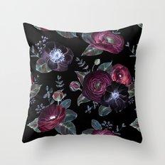 Fantasy Night Rose Red Throw Pillow