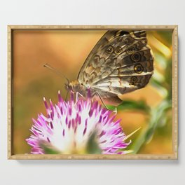 Wall Brown Butterfly On Thistle Serving Tray
