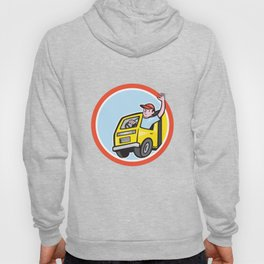 Delivery Truck Driver Waving Circle Cartoon Hoody