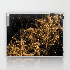 Shiny golden dots connected lines on black Laptop & iPad Skin