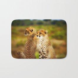 Pair of Cheetahs Bath Mat