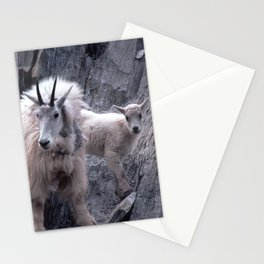 Magnificent Mountain Goat & Baby on Cliff's Edge Stationery Cards