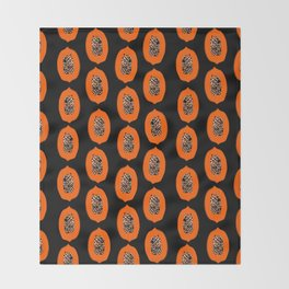 Papaya fruit tropical nature vacation pattern healthy foods vegan gifts Throw Blanket