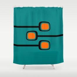Mid Century Modern Branches - Orange on Teal Shower Curtain