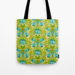 Turquoise and Green Leaves 1960s Retro Vintage Pattern Tote Bag