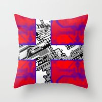 denmark Throw Pillows featuring circuit board Flag (Denmark) by seb mcnulty