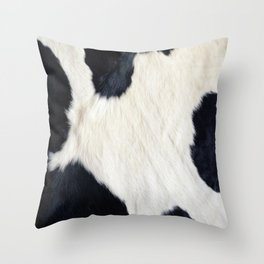 Cowhide Black and White Throw Pillow