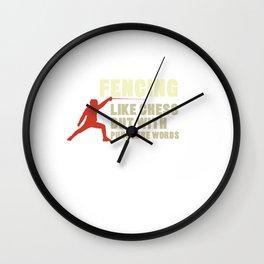 Fencing But Like Chess Puncture Words Swordsmanship Swordsman Sword Training Gift Wall Clock
