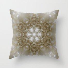 Bright White Flower Kaleidoscope Throw Pillow